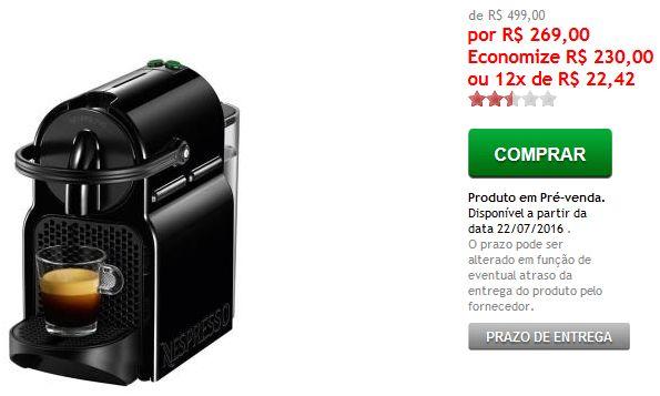 Cafeteira Nespresso Inissia D40 Black 110V << R$ 26900 >>