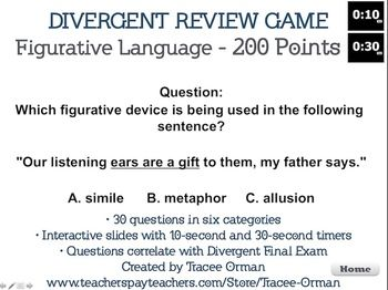 Divergent review game - fun trivia game for the fan or perfect review for students! Comes with 10-second and 30-second timers on every slide (you choose how much time you wish to give participants).