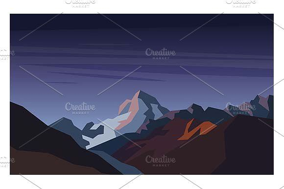 Landscape with Mountain Peaks. by Kurokstas on @creativemarket