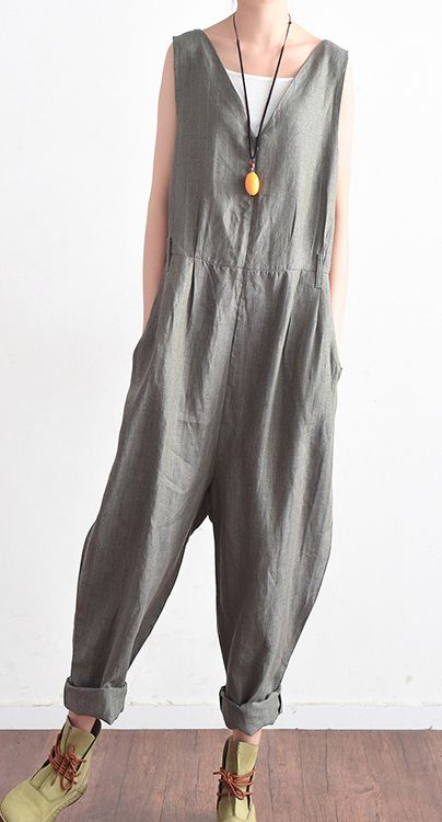 2017 summer new gray linen jumpsuit pants oversize  casual trousers
