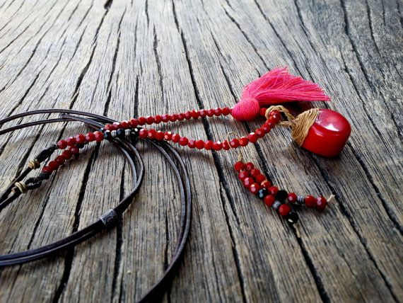 Long Red Coral Leather Necklace Fuchsia Pink by PiscesAndFishes