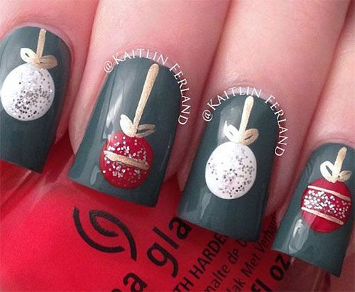 Christmas Ornament Nails - Christmas Ornament Nails Beautiful Nails Christmas Nails