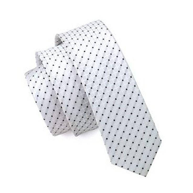 Jason&Vogue SlimLine Designer Krawatte schmal weiß schwarz gepunktet