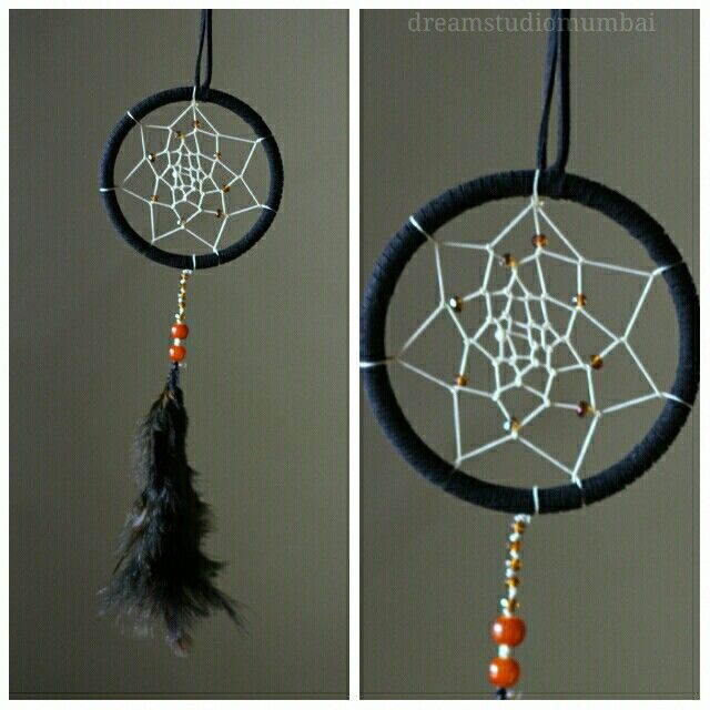 Black n cream dreamcatcher with glass beads..