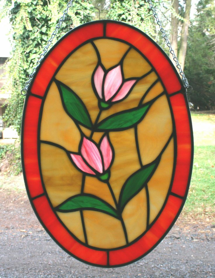Stained Glass Handcrafted Pink Flowers Oval Panel | eBay