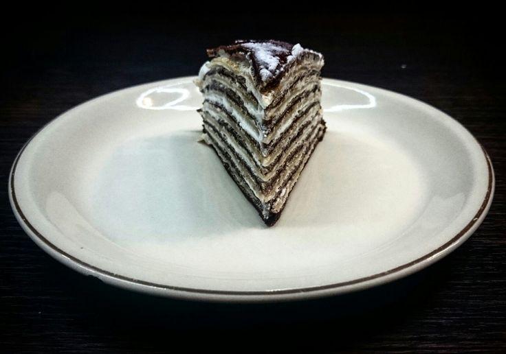 Amazing black and white pancake cake with mascarpone cream :)