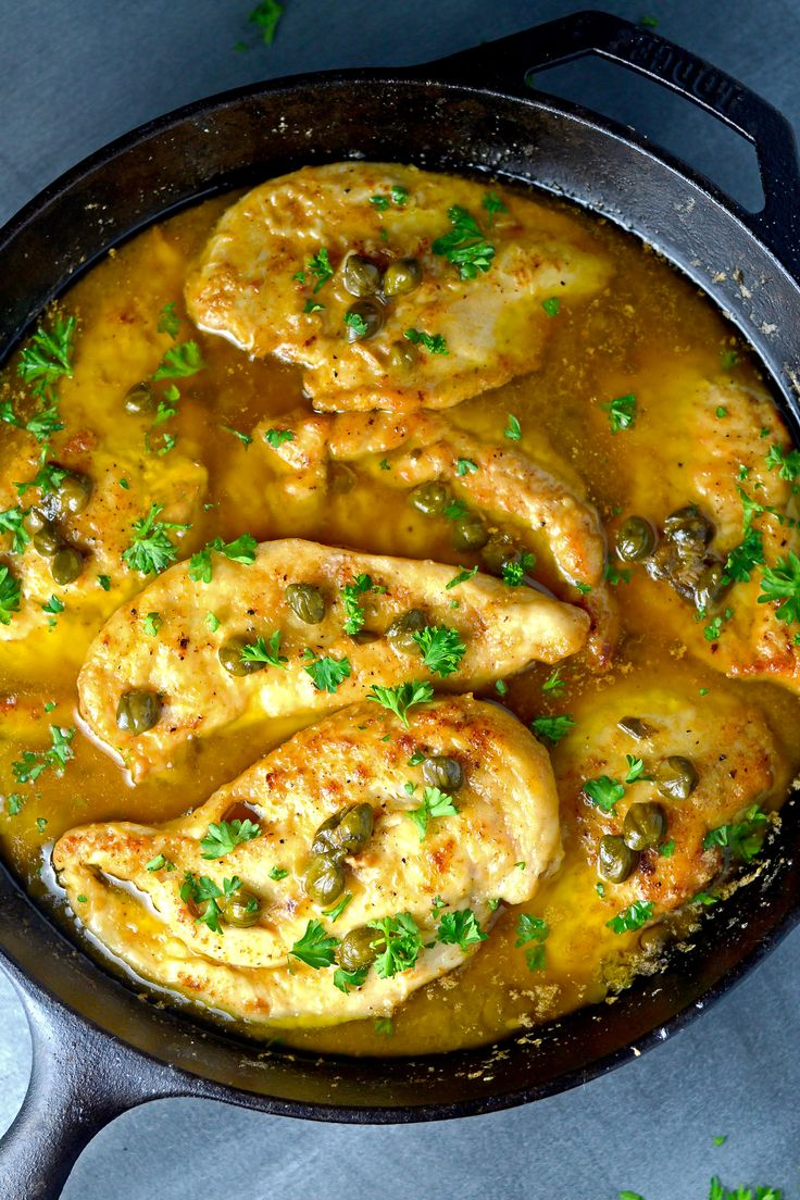 A chicken dish that is sautéed in butter and olive oil then served in a sauce with capers, lemon juice, butter, olive oil, and chicken stock.