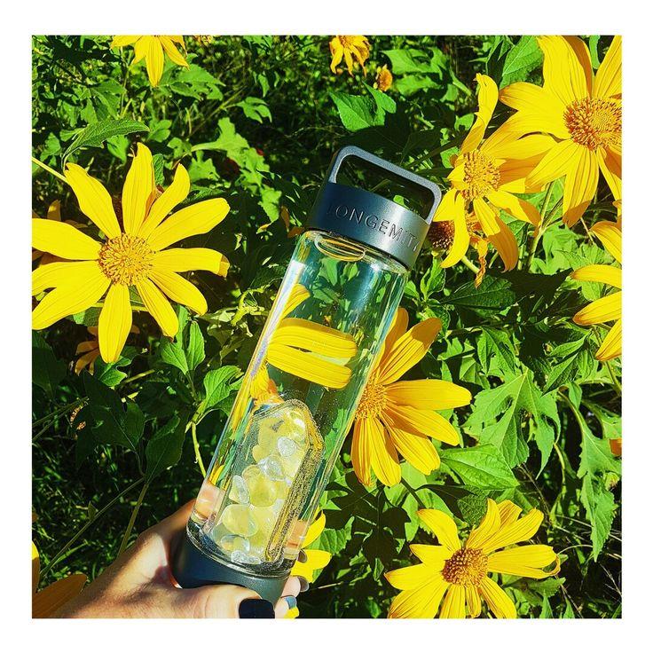 Longemity Crystal Infused Water Bottle. Awakening.  www.longemity.com.au
