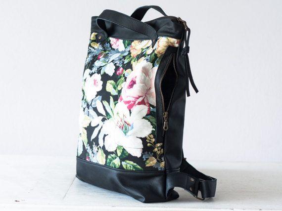 Zaino in pelle nera e tela floreale semplice zaino borsa