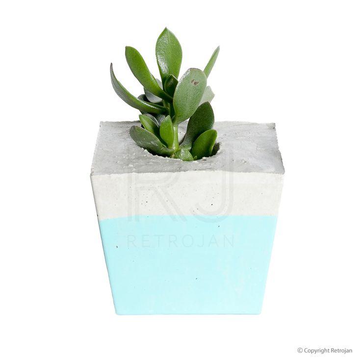 Square Concrete Planter - Pastel Mint | $54.95