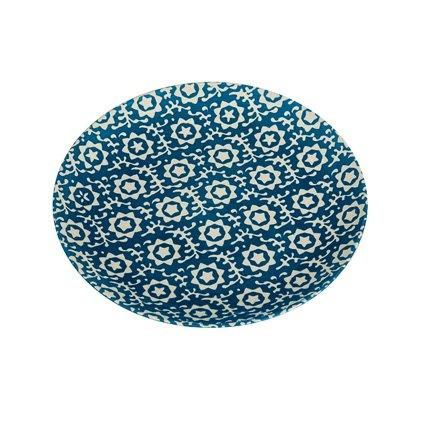 Assiette à dessert SIA de couleur bleue à motifs, en grès et peinte à la main.