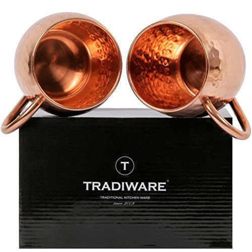 TRADIWARE Copper Moscow Mule Mugs with deep bottom - no more slides on table - 100% Handcrafted & Hammered Mugs - 16 Oz Pure Solid Copper Mugs - Essential for Moscow Mule Recipe - Set of 2