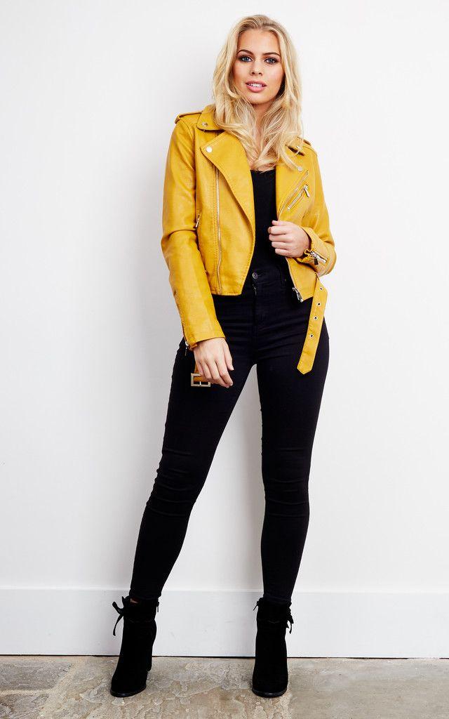 Rozy Faux Leather Biker Jacket In Mustard - SilkFred