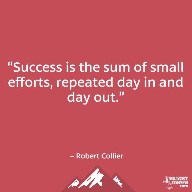 """Success is the sum of small efforts, repeated day in and day out."" ~ Robert Collier"