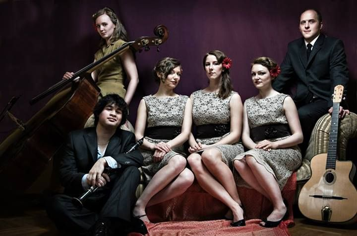Our Featured #BandoftheWeek: Company B Jazz Band, a Vancouver-based sextet in the style of the Andrews and Boswell Sisters, rouses crowds for dancing and smiles with their cheerful renditions of classic repertoire from the 1920s through 1950s. Loaded with personality, the harmonies of the female vocal trio are well-complemented by an instrumental trio of clarinet/sax, guitar, and upright bass.   Photo Credit: Jens Christiansen