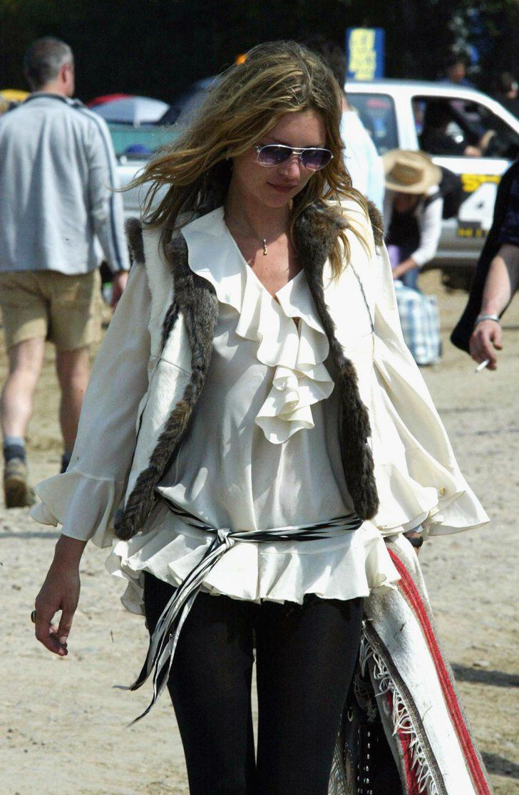 Pin for Later: Kate Moss, Patron Saint of Glastonbury Style  She often reaches back to past decades for style inspiration, picking bohemian styles that smack of classic bands from the '70s.