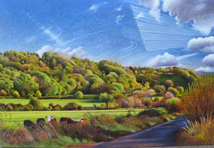 Red Hill from Oath Corner. Egg Tempera on panel by Lucy Everitt 2014.