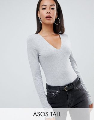 f7a8a1a4 Shop ASOS DESIGN Tall ultimate top with long sleeve and v-neck in grey at  ASOS. Discover fashion online.