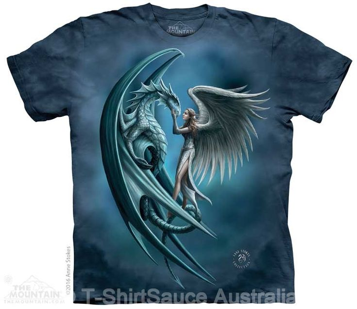 Angel & Dragon Adults T-Shirt by Anne Stokes : The Mountain - 2017 Collection : T-Shirtsauce Australia: The Mountain T-Shirts