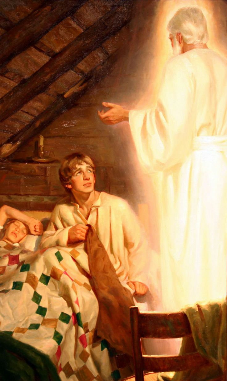 The Angel Moroni appears to Joseph Smith    - artist not listed