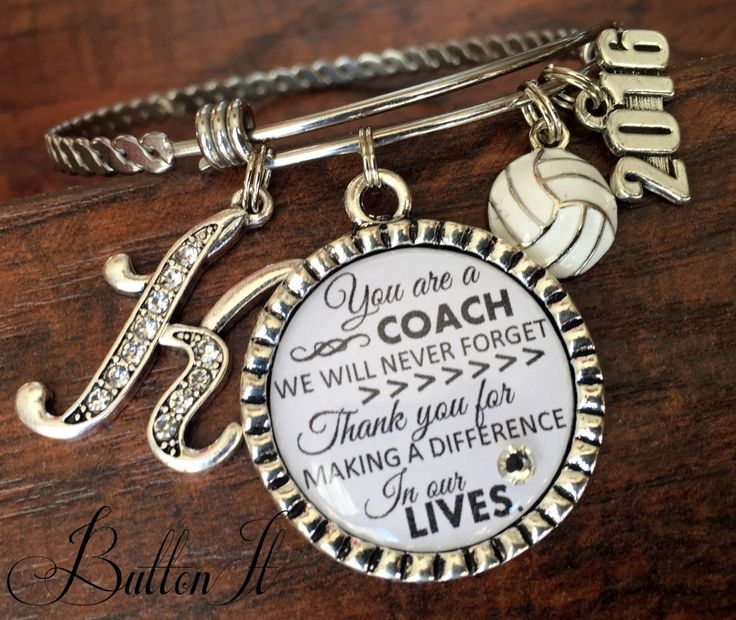 Coach gift, Team gift, softball coach, volleyball coach, soccer coach, Sports BRACELET,  Custom Sports Jewelry, coach quote, inspirational by buttonit on Etsy