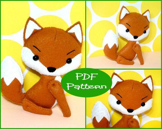 PDF Pattern  Fox Felt Animal Doll Pattern  For by EmmaIrlamCrafts