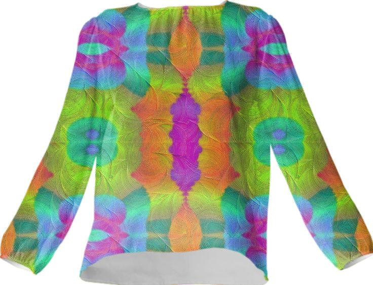Silk top in colorful symphony from Print All Over Me