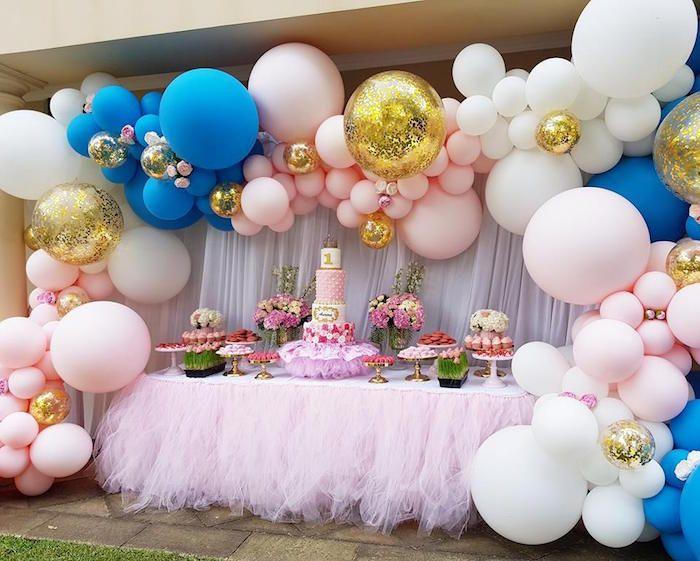 Glam Balloon Princess Birthday Party Kara S Party Ideas Princess Birthday Party Birthday Decorations Birthday Parties