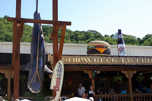 Shipwreck Tavern in St. Thomas   After a day at the beach and still a couple hours before the cruise ship sails, this is the spot, good burgers, great fries and ice cold beer. Life is good. Always have the Patriots football games on during football season.