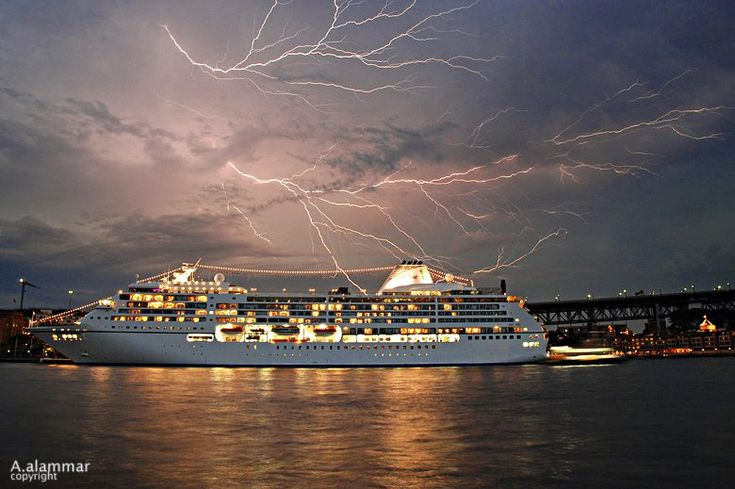 A fascinating view of lightning from the cruise ship
