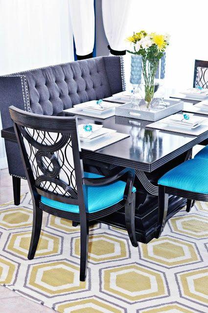 Hollywood Regency dining room set on a @Jill Meyers Meyers Rosenwald designed Fallon Surya rug. (FAL-1036)