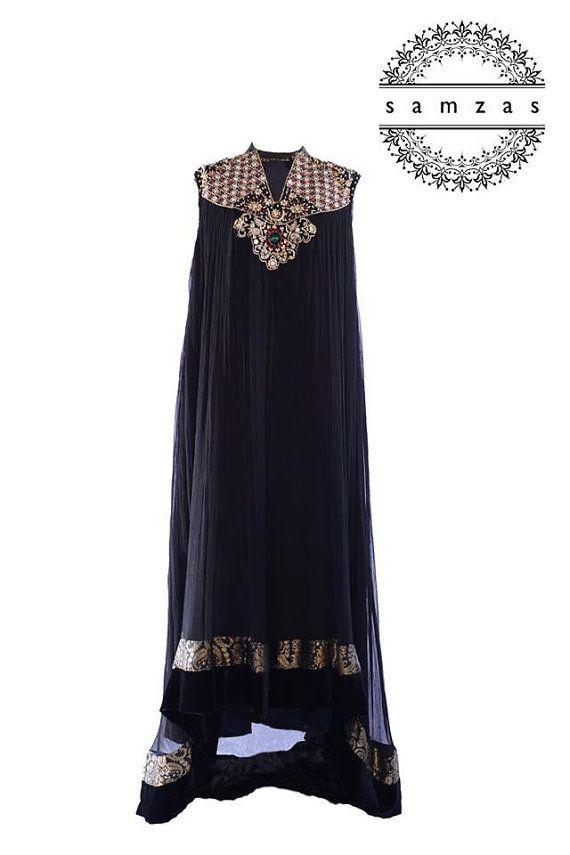 Pakistani Shalwar Kameez Gown Designer Black by faizapervaiz, $320.00