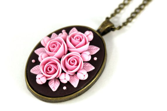 MADE TO ORDER Pink Pendant Necklace Love Brown Pink by KittenUmka