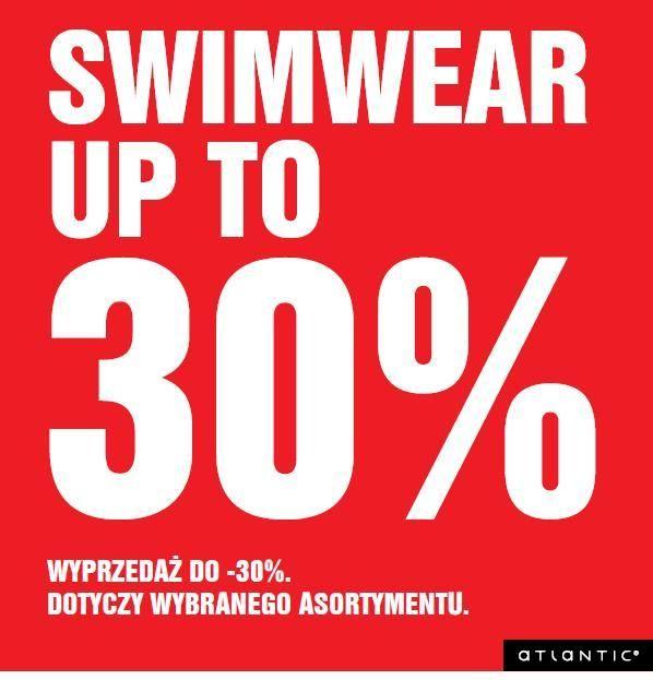 Nowy kostium to gwarancja udanych wakacji. Przyjdź do salonu Atlantic i skorzystaj w 30% zniżki na wybrane produkty z kolekcji SWIM. Najmodniejsze w tym sezonie kostiumy monokini czy szybko schnące slipy męskie w super cenie mogą być Twoje.