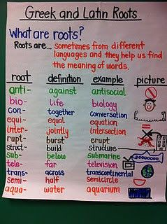 Roots... big in 5th grade Word Study.  Plus, this blog has lots of other great anchor charts and organization ideas.