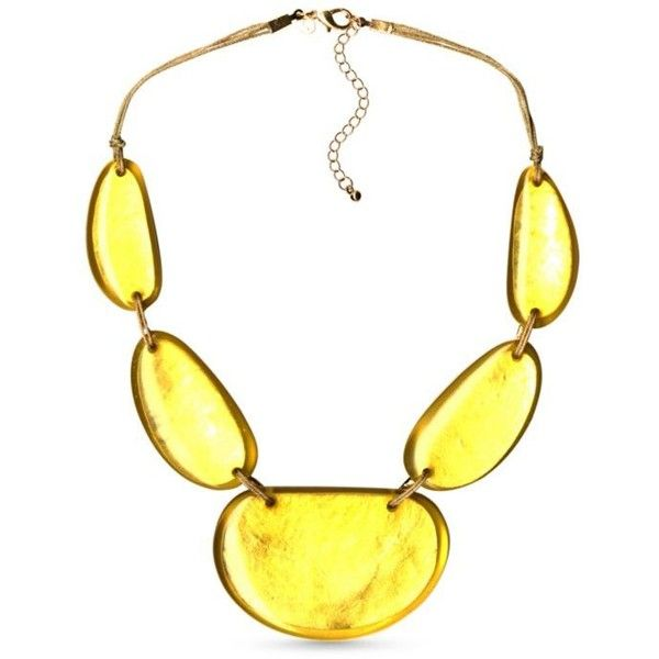 Kim Rogers Gold Gold-Tone Yellow Uneven Oval Statement Necklace ($20) ❤ liked on Polyvore featuring jewelry, necklaces, gold, long gold necklace, gold jewellery, statement necklaces, gold tone jewelry and cord necklace