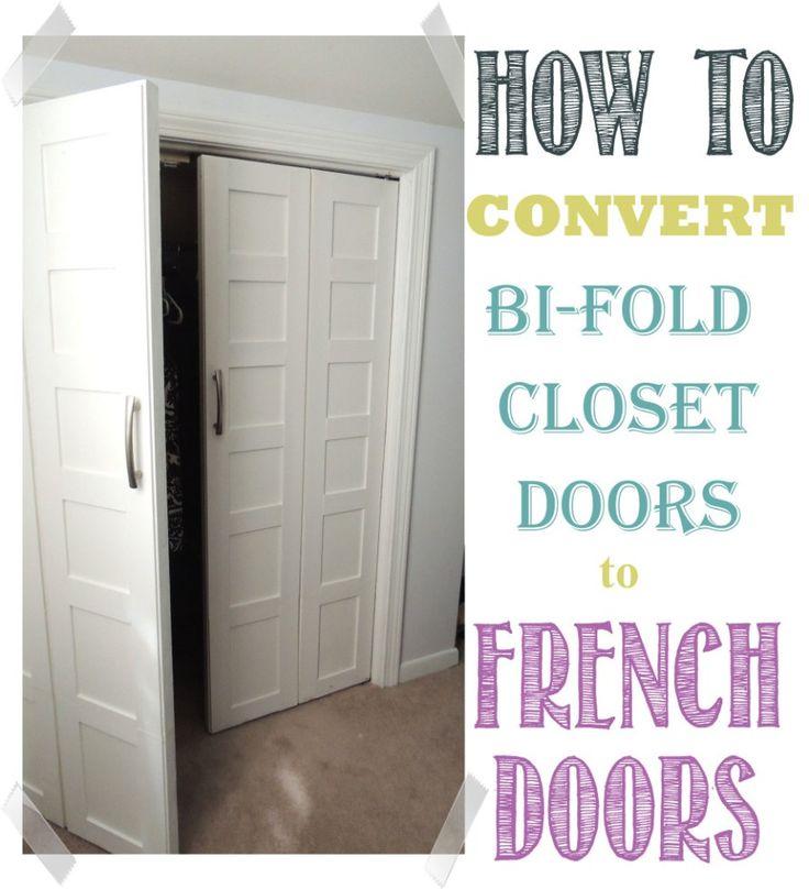 Convert Bedroom Bi-Fold doors to French Doors | WifeInProgressBlog.com  Do this to laundry closet!