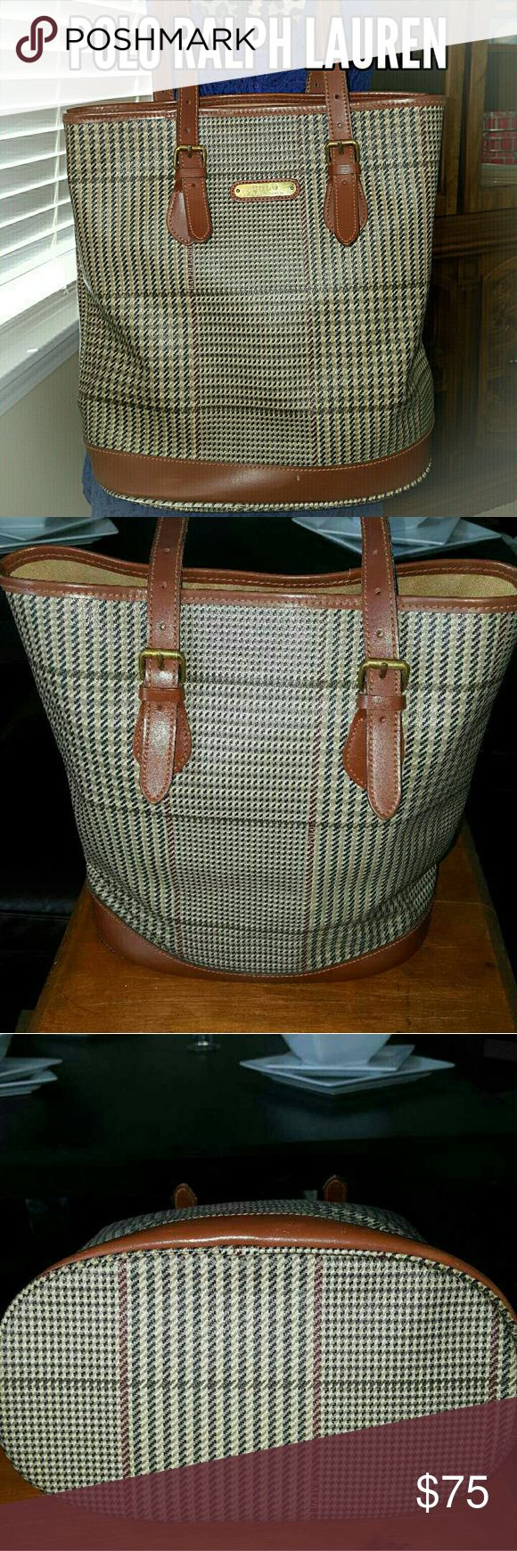 """Polo Ralph Lauren Houndstooth Bag FOR THE LOVE OF VINTAGE!!!  This bag is amazing! Holds a ton and is nuetral for every season! Coated Canvas Brown Leather trim!!  Good Condition   A few markings inside and out (see photos)  No holes tears or major damage  DIMENSIONS 13"""" X 13"""" 11"""" Strap Drop Polo by Ralph Lauren Bags Totes"""
