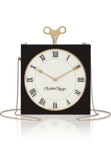 Charlotte Olympia Time Piece engraved Perspex matchbox clutch
