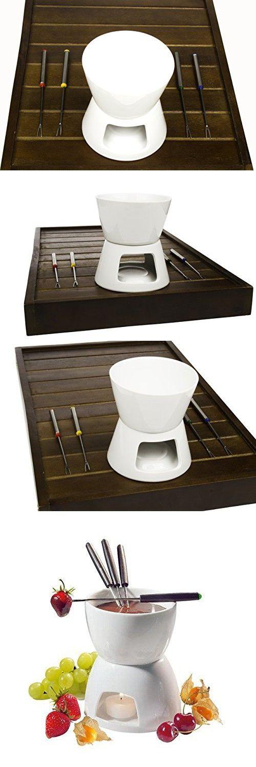 Ceramic Chocolate Fondue Set w/ Forks - Tea Light Porcelain Melting Pot w/ Fondue Dippers