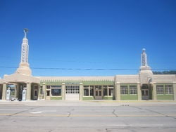Historic U-Drop Inn, a Conoco fuel station restoration in Art Deco style along U.S. Route 66 in Shamrock