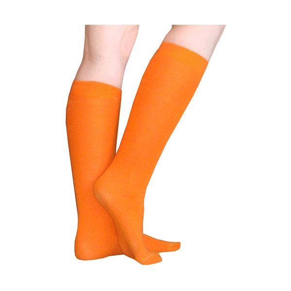 Thin Solid Orange Socks ($50) ❤ liked on Polyvore featuring intimates, hosiery, socks, orange socks, knee high socks, knee length socks, thin socks and orange knee high socks