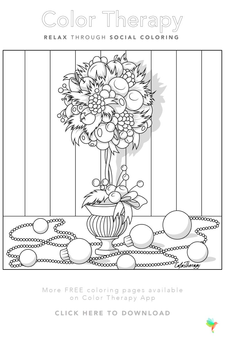 Color Therapy Gift Of The Day Free Coloring Template Flower Coloring Pages Christmas Coloring Pages Coloring Book Art