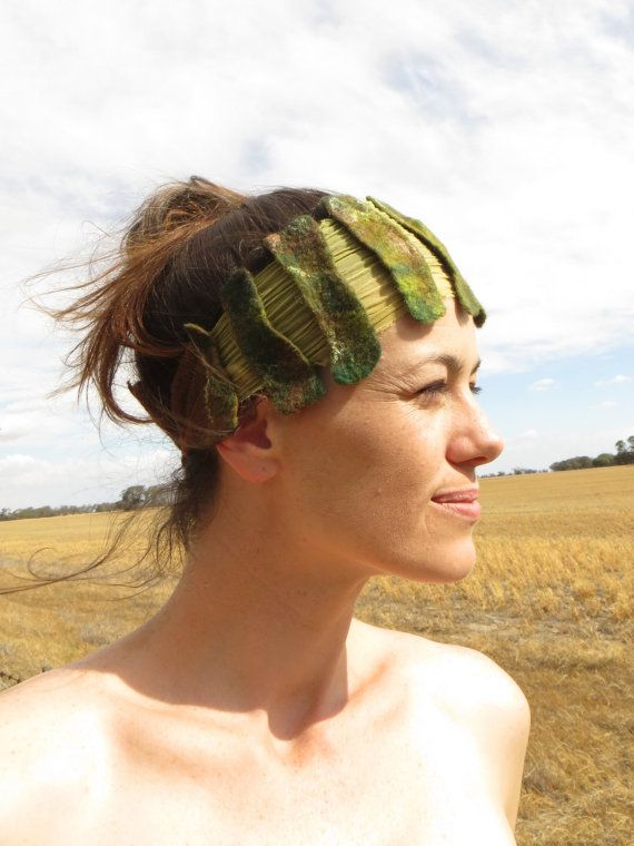 Art deco inspired pixie headband in forest greens with by PixeRose