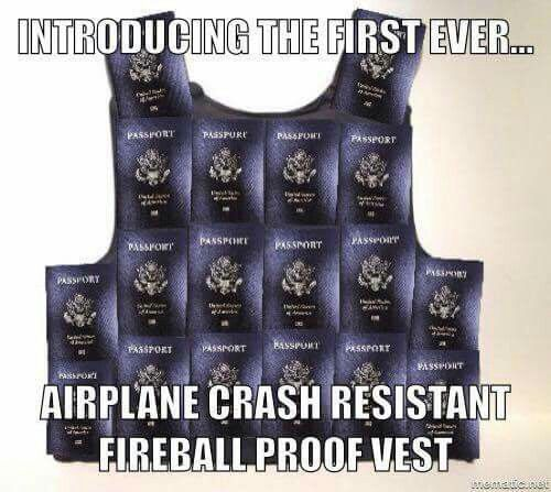 The first airplane crash-resistant, fireball-proof, explosion-withstanding vest. (Made of Passports)  #Amerika #NWO #FalseFlags