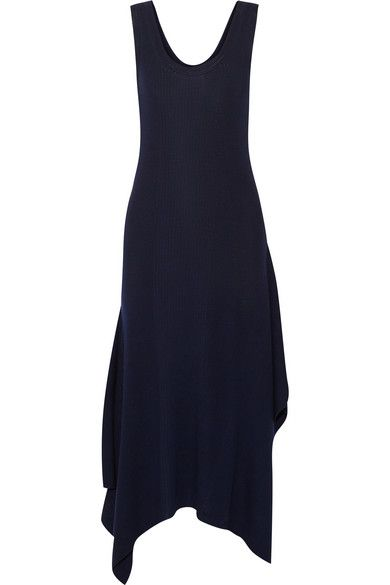 T BY ALEXANDER WANG Asymmetric Ribbed Merino Wool Midi Dress. #tbyalexanderwang #cloth #dresses