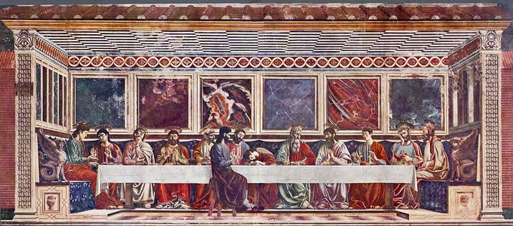 ANDREA DEL CASTAGNO (1420-57) Ostatnia Wieczerza, fresk, 435x975 cm, 1445-1450, Sant'Apollonia, Florencja