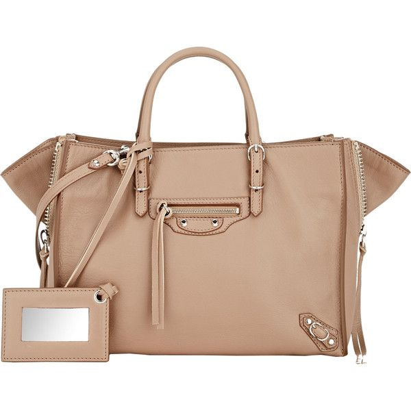Balenciaga Papier Side-Zip A6 Tote (5.480 BRL) ❤ liked on Polyvore featuring bags, handbags, tote bags, colorless, clear purse, travel tote, studded tote, clear tote and travel tote bags