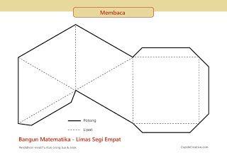 gunting tempel geometri 3d untuk SD, model bangun matematika limas segi empat