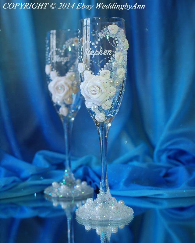 Gafas de champán boda personalizado, hecho a mano para tostar flautas, Despedida De Soltera